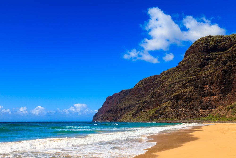 Beginning of the Napali Coast at Polihale State Park in Kauai, Hawaii Islands.