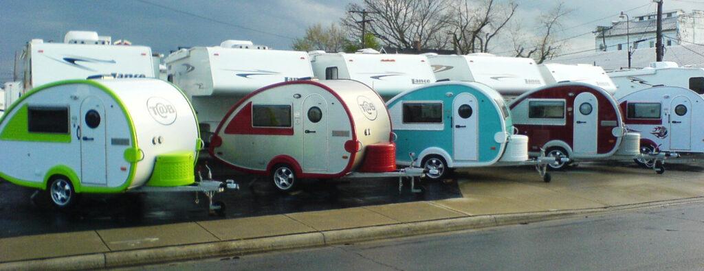 Row of Tab travel trailers