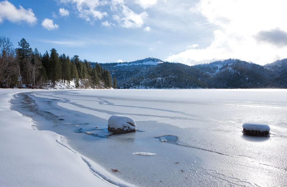 Frozen Spirit Lake in Idaho.