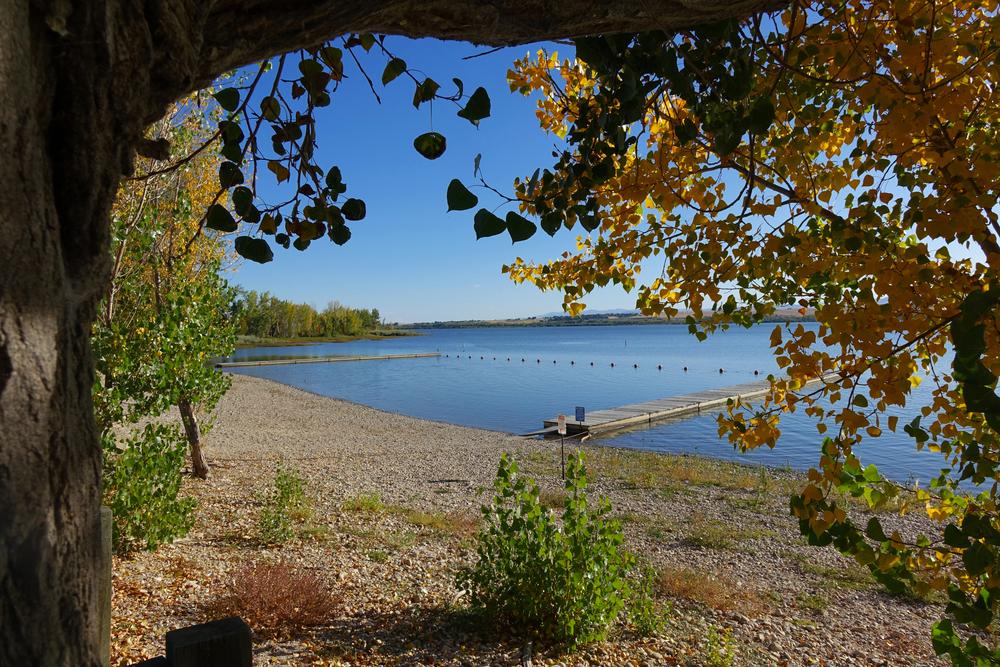 Autumn leaves color the scene at Lake Lowell, near Nampa, Idaho.