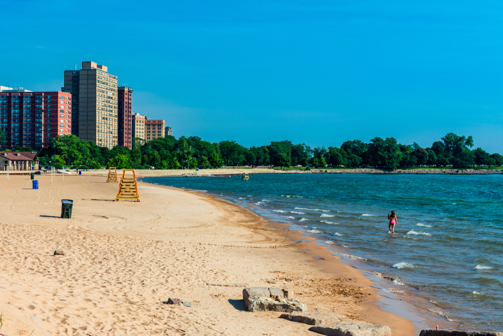 57th Street Beach in Chicago with a Single Woman in the Water