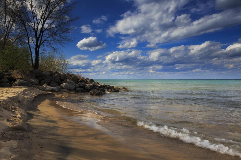 Evanston lighthouse beach. Location: Evanston, Illinois