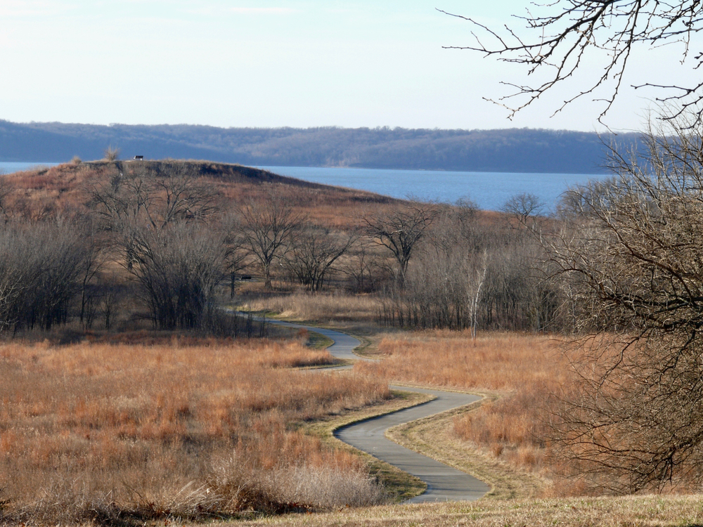 Trail Winding Walking Path to Clinton State Park Lake Overlook Vista