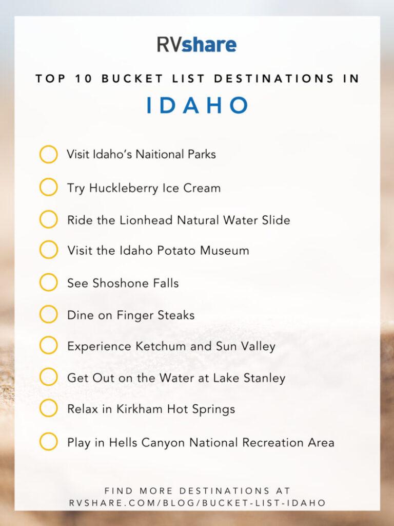 Idaho bucket list