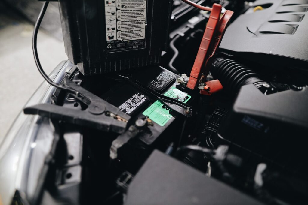 a car battery being charged
