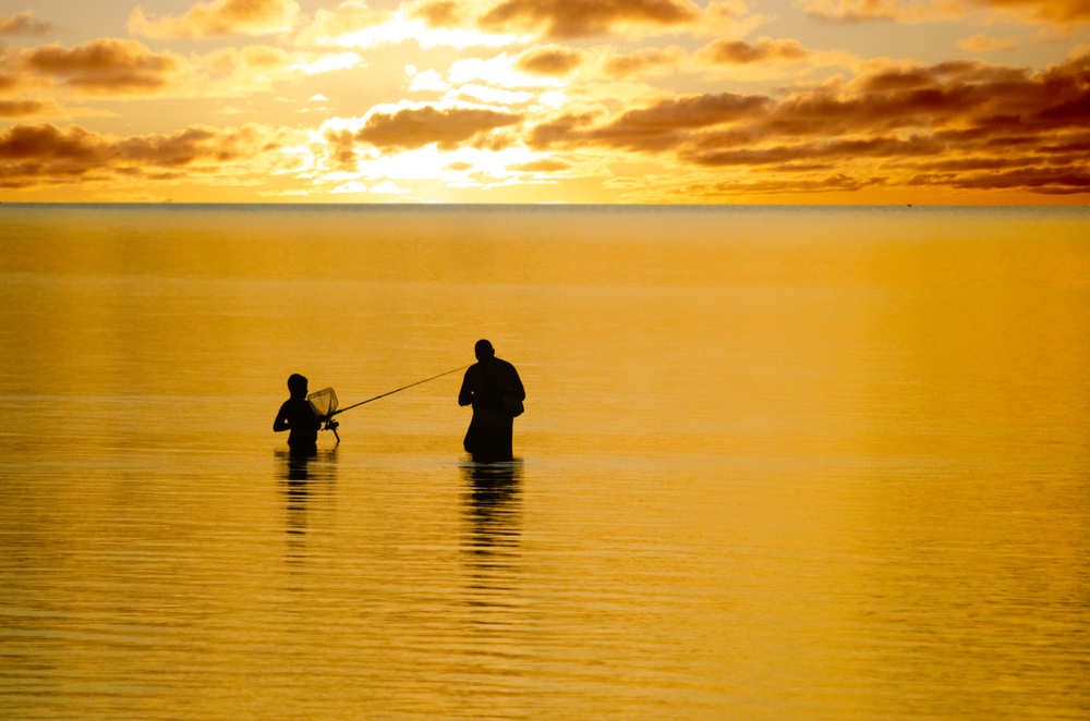 A parent and child stand in open ocean water, casting fishing lines. The water and sky are orange and yellow with the rising sun.