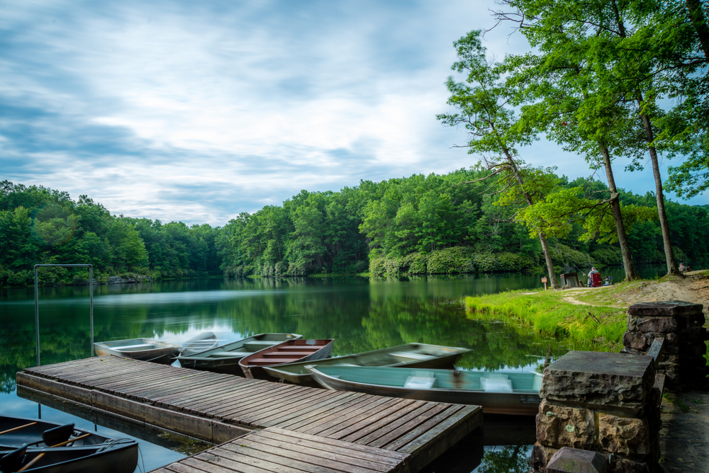 Several small boats at a small wooden dock in a lake surrounded by dense green forest. A person sits, fishing, further down the shore.