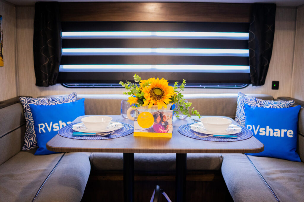 Dining table inside an rv