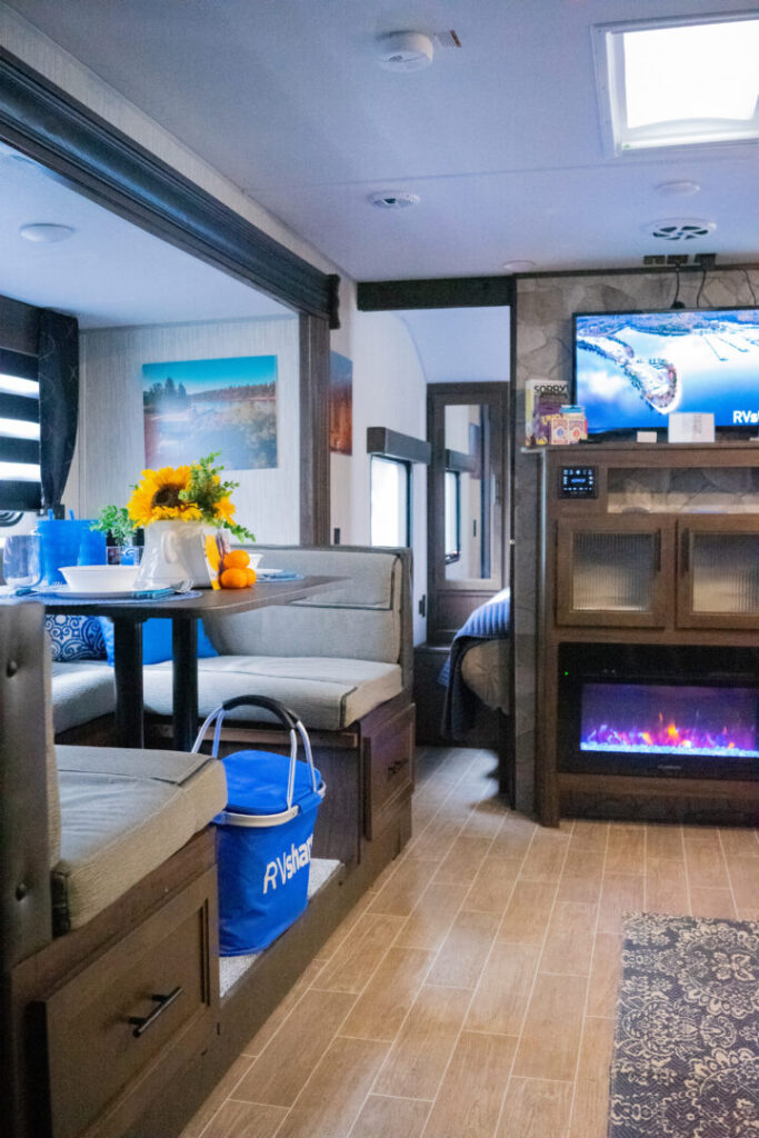 Dining and living room interior of RV