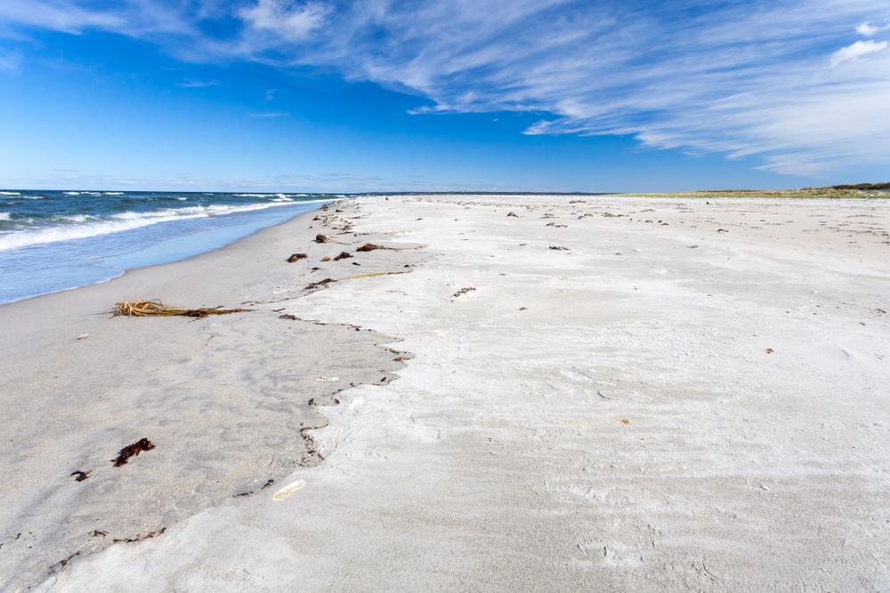 View of beautiful Crane beach in autumn, Massachusetts, USA