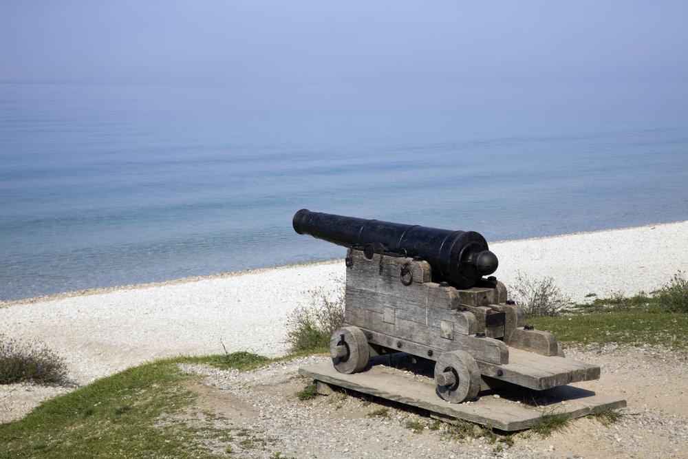 Cannon on the beach - Mackinac Island.