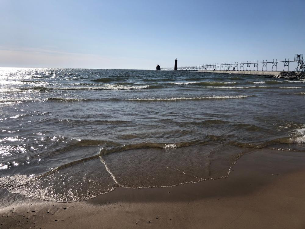 Grand Haven Pier along the shore of Lake Michigan.
