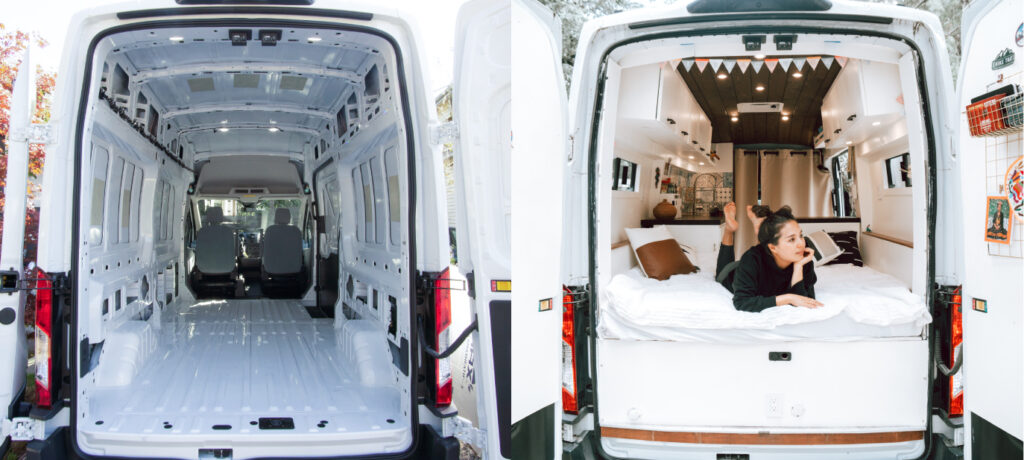 before and after image of a converted campervan