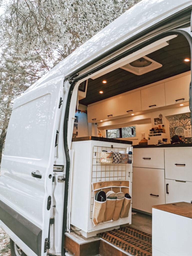 Interior image of campervan with side door open