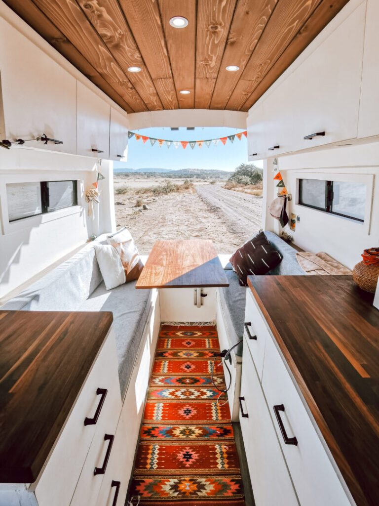 Interior converted campervan with back boors open