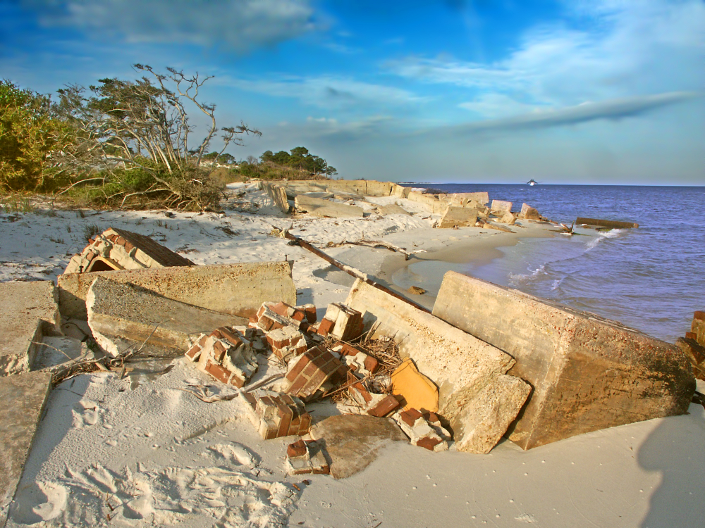 Ruins of an abandoned structure on Horn Island of the Gulf Islands National Seashore in Mississippi