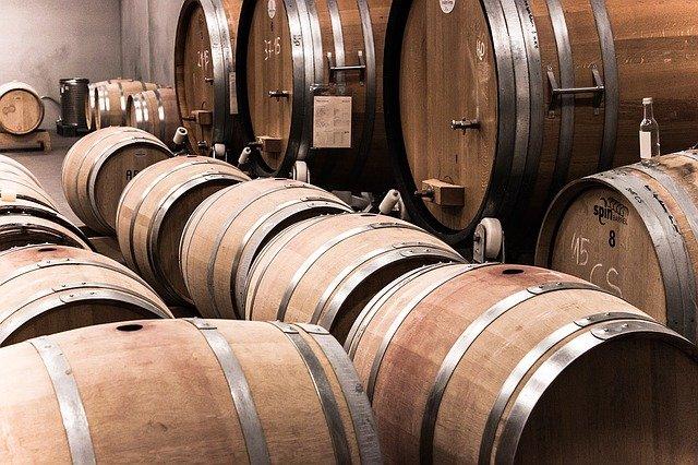 oak barrels storing wine
