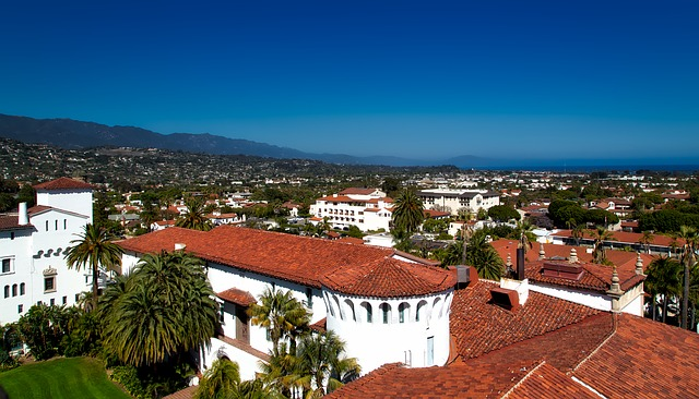 Spanish-style terra cotta rooftops in Santa Barbara
