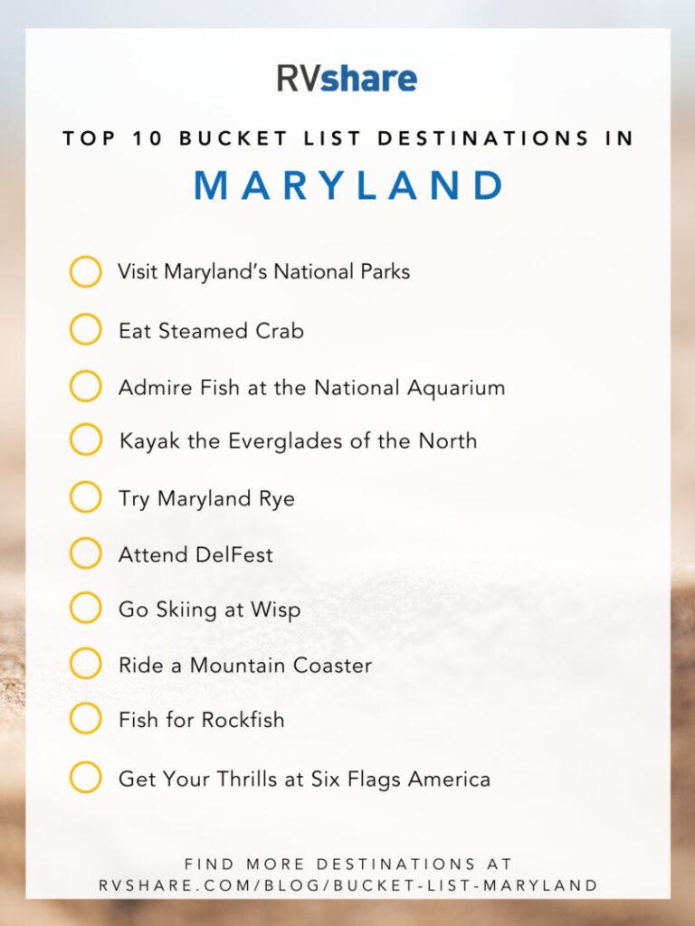 Maryland bucket list