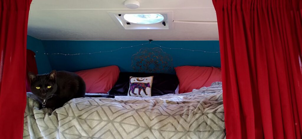 Bed of a Class C RV