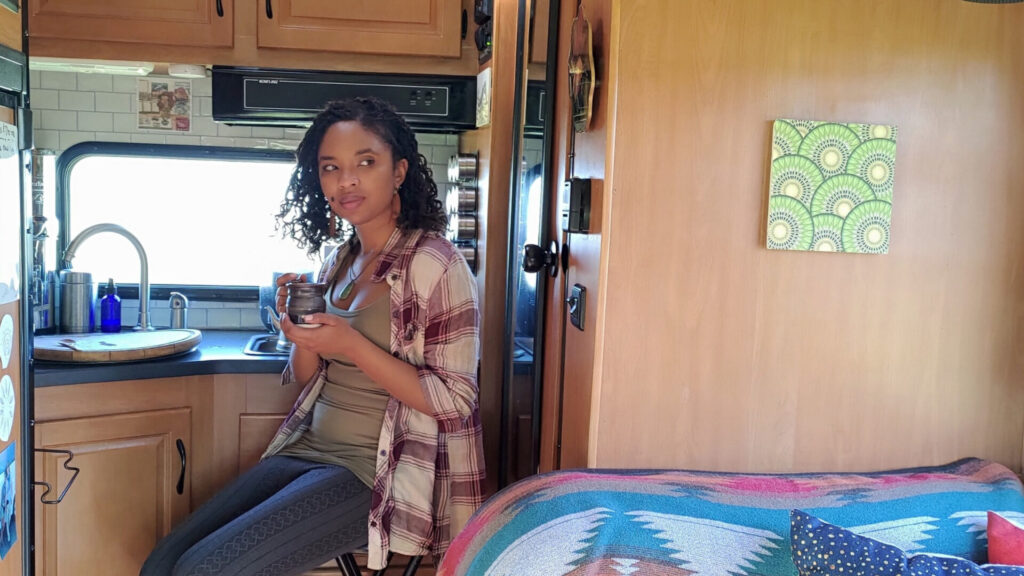Woman relaxes in her RV