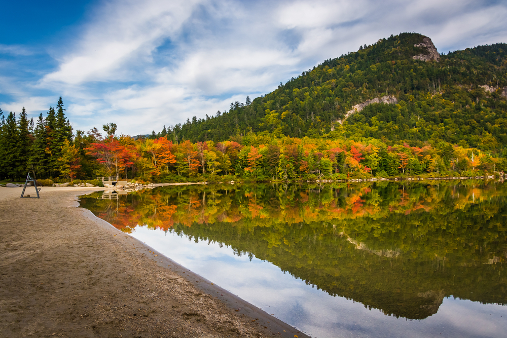 Early fall colors and reflections at Echo Lake, in Franconia Notch State Park, New Hampshire.