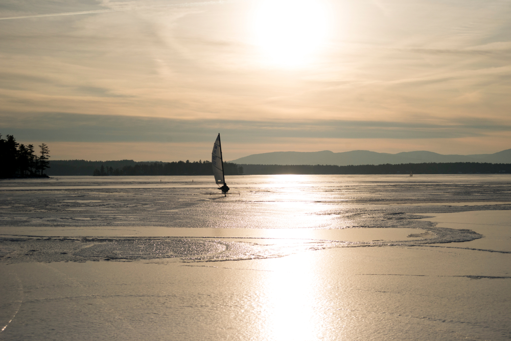 Ice Sailing on Wentworth Lake in New Hampshire