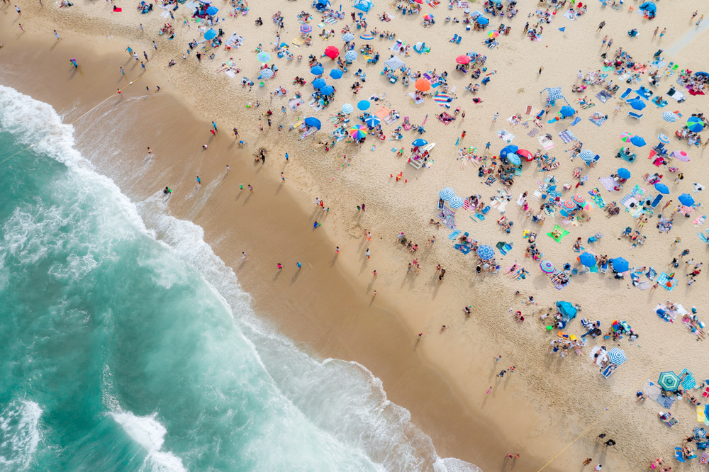 Aerial view of beach goers in Asbury Park, New Jersey on Memorial Day Weekend 2019