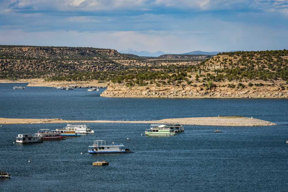 Navajo Lake State Park in New Mexico the Land of Enchantment with Houseboats
