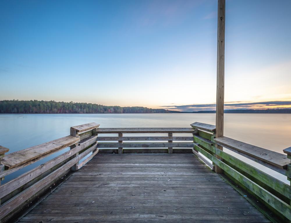 Wooden board observation deck in Jordan Lake,North Carolina,United State