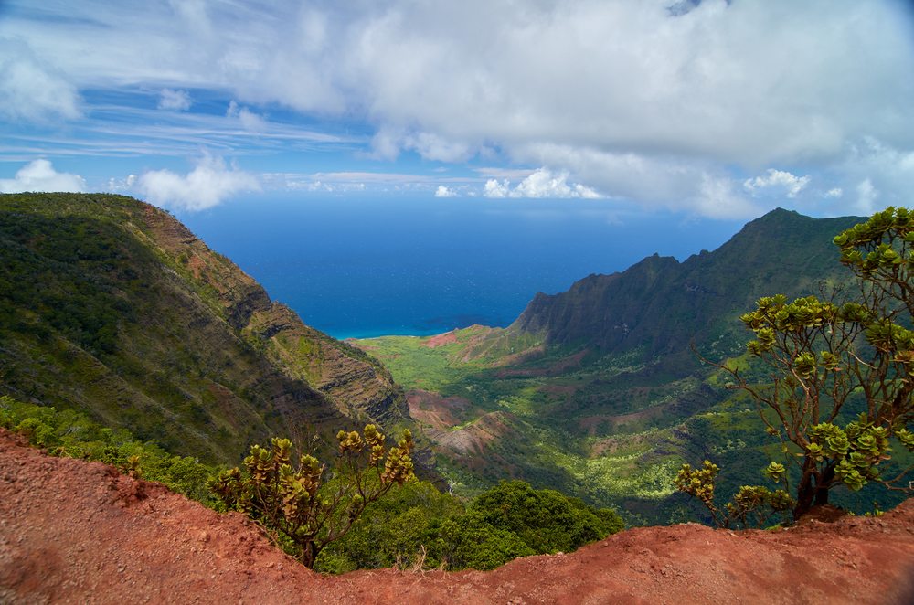 Mountains covered in greenery. Red soil and trees line the cliff's edge in the foreground and the blue ocean under puffy white clouds can be seen in the distance.