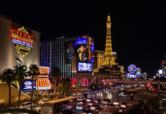a nighttime shot of Las Vegas with lights