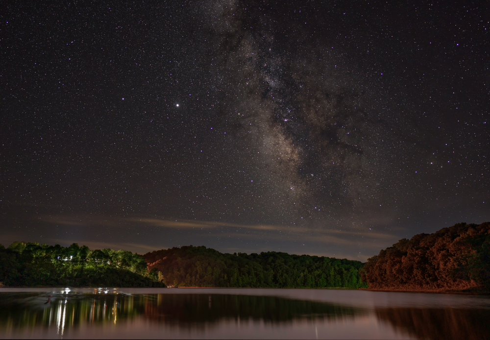 August 19th 2020 - Glouster Ohio - United States. The Milky Way over the lodge at Burr Oak State Park.