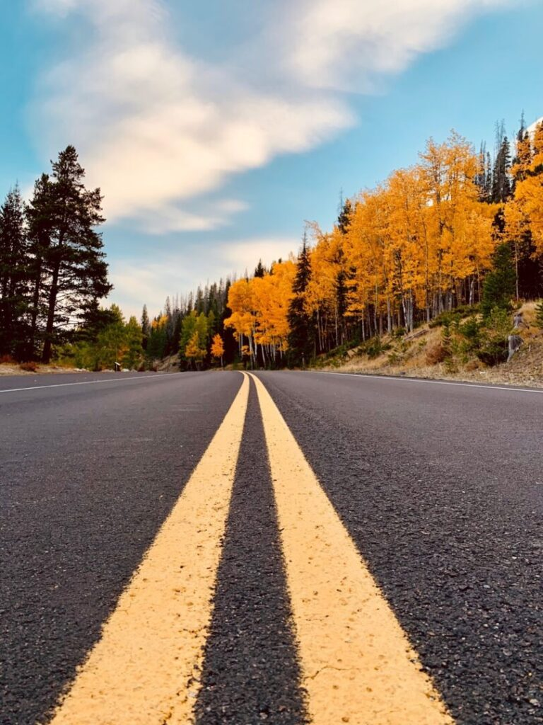 Open road in Colorado during the fall