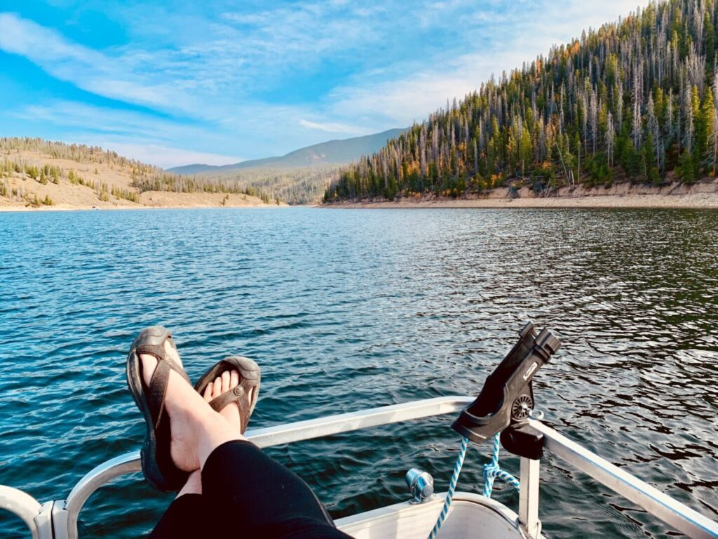 Outlook from a Pontoon boat in Colorado in the fall