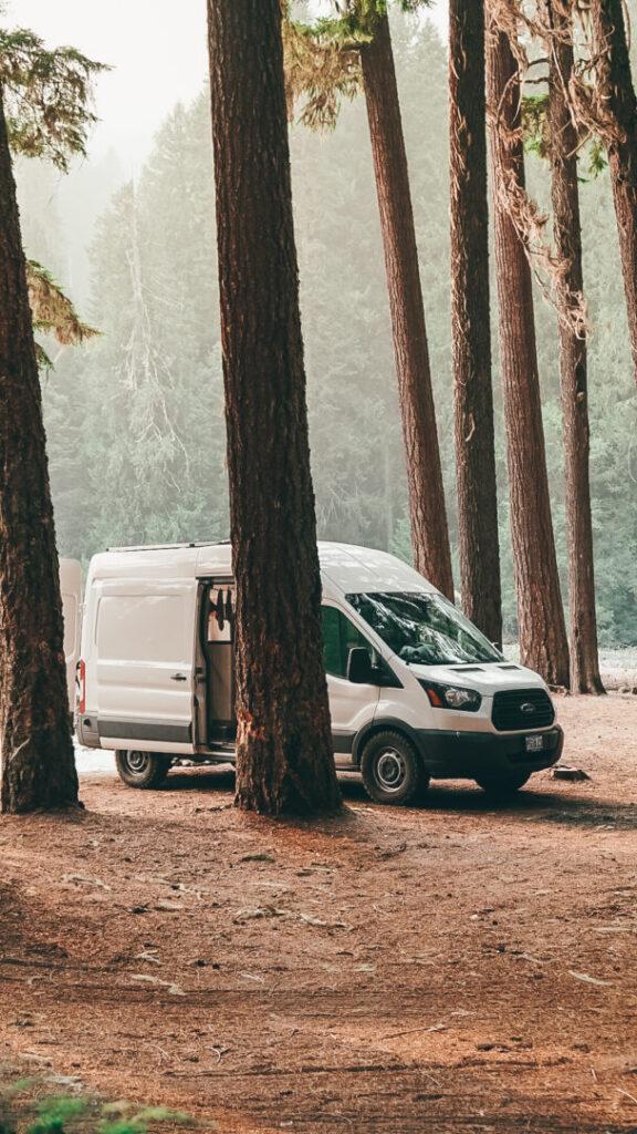 Campervan parked at Rainer National Park