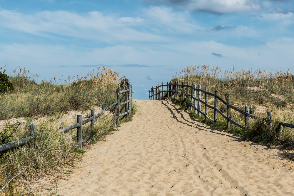 A sandy beach pathway bordered by wooden railings and grass covered dunes leads to the ocean seen in the distance.