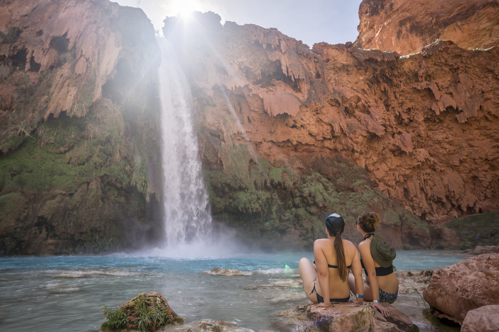 Only way in and out of Mooney Falls of Havasu Falls, Grand Canyon, Arizona