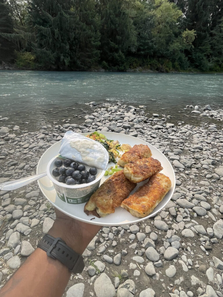 Nutritious breakfast by a riverbed