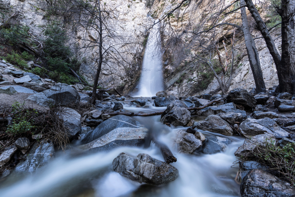 Sturtevant Falls and Creek with motion blur. A popular Angeles National Forest natural area in the San Gabriel Mountains above Los Angeles and Pasadena California.