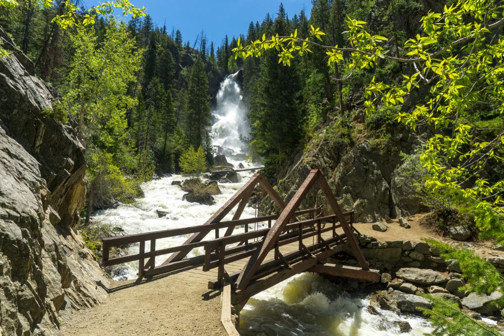 A bridge over the river at Fish Creek Falls, Colorado.