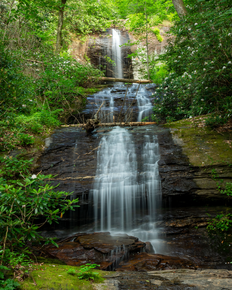 A view of Upper DeSoto Falls in the Desoto Falls Recreation Area in Dahlonega, Georgia.