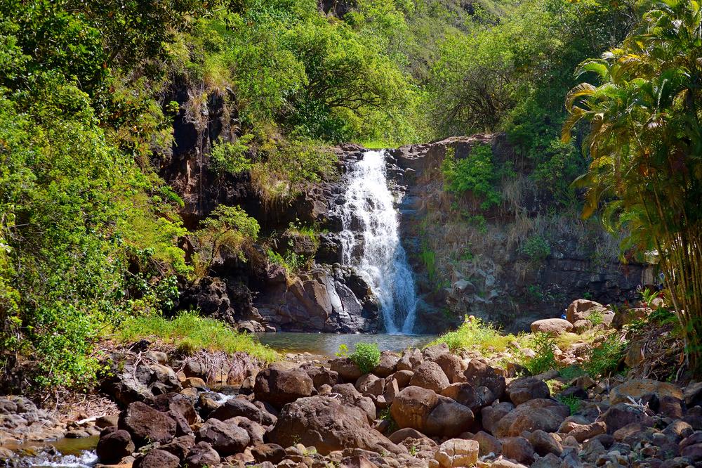 Beautiful tropical waterfall in Waimea Valley park on Oahu island