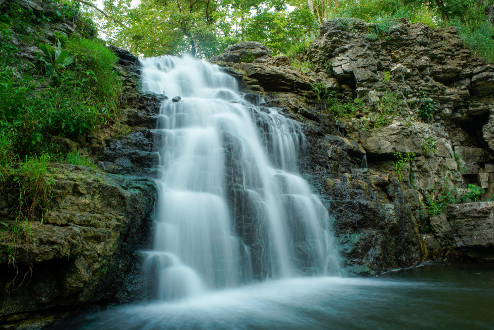 Long exposure of the Waterfall at France park near Logansport Indiana located in Cass county