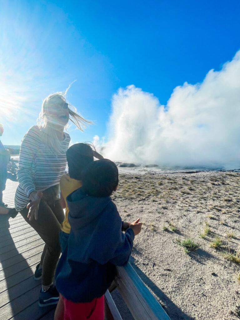 Family enjoying Yellowstone National Park
