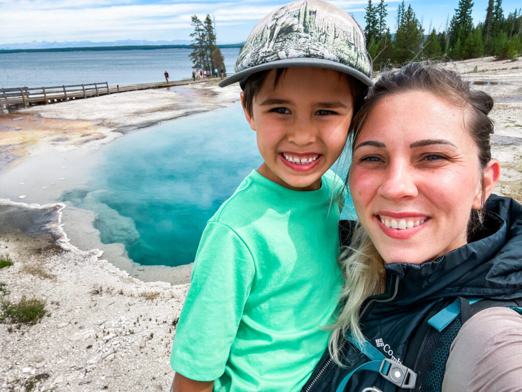Mother and son enjoying Yellowstone National Park
