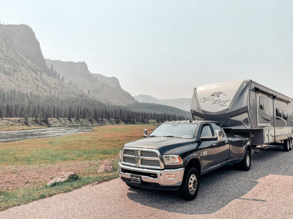 Fifth wheel RV parked in Yellowstone National Park