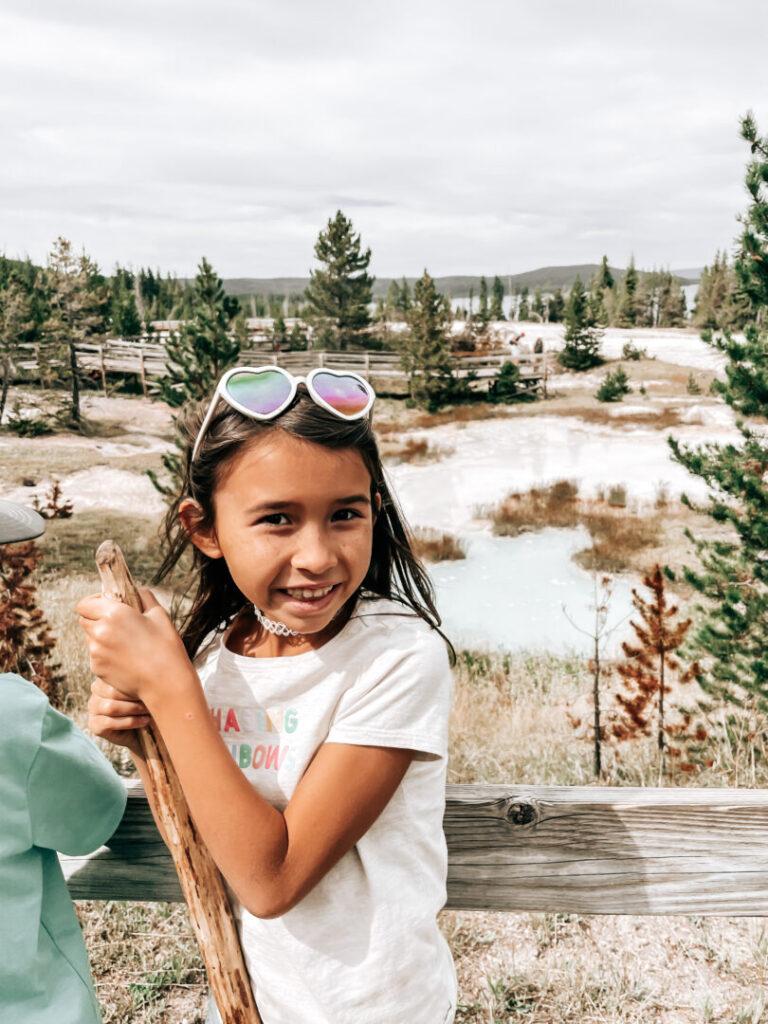 Little girl enjoys Yellowstone National Park