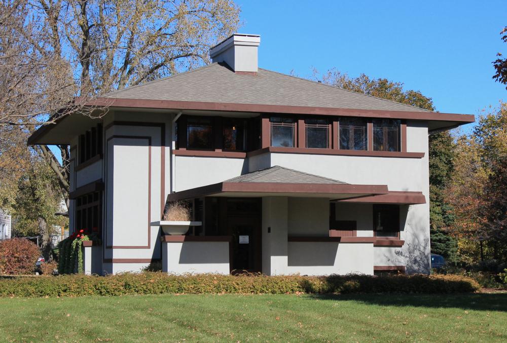 Mason City, Iowa - 10/10/2017: George Stockman Residence. Architect Frank Lloyd Wright. Built 1908.