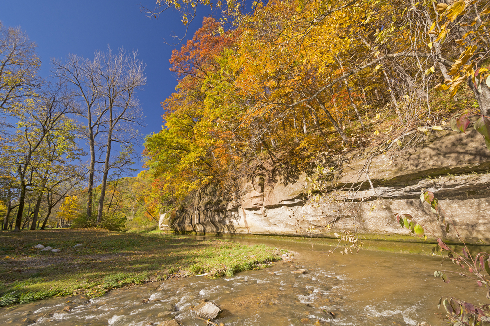 Fall Colors and Limestone Cliff on Peas Creek in Ledges State Park in Iowa
